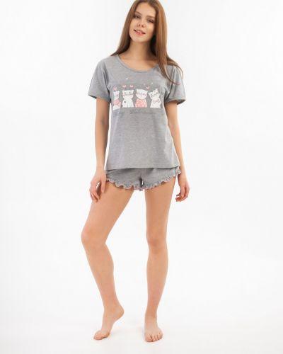 Серая пижамная домашняя пижама с шортами Lena Basco