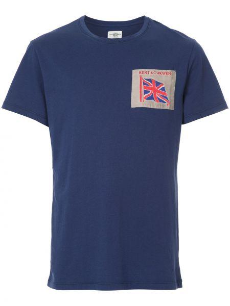 Хлопковая синяя футболка с нашивками Kent & Curwen