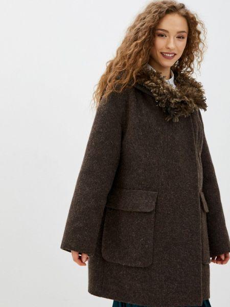 Коричневое пальто с капюшоном Gamelia