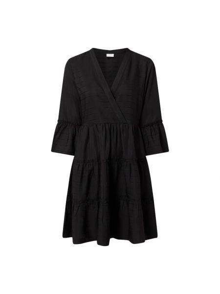 Czarna sukienka rozkloszowana z falbanami Vila