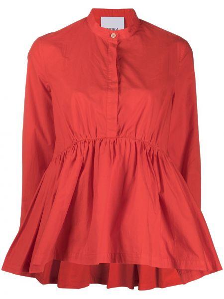 Pomarańczowa bluzka z długimi rękawami bawełniana Erika Cavallini