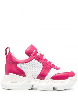 Różowe sneakersy skorzane sznurowane Swear