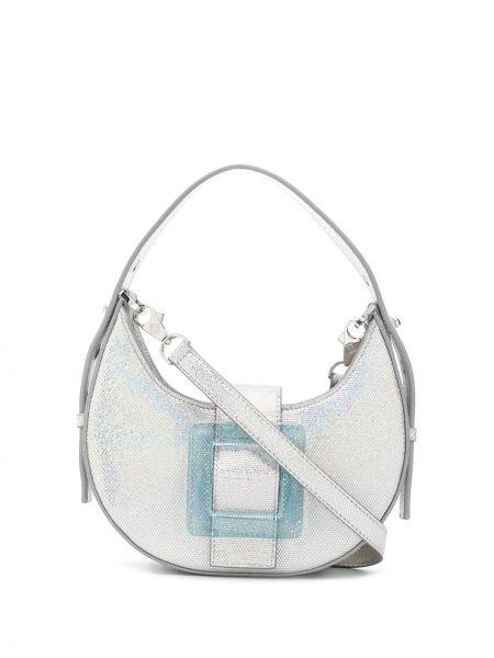 Серебряная сумка на плечо с пряжкой на молнии из нубука Les Petits Joueurs