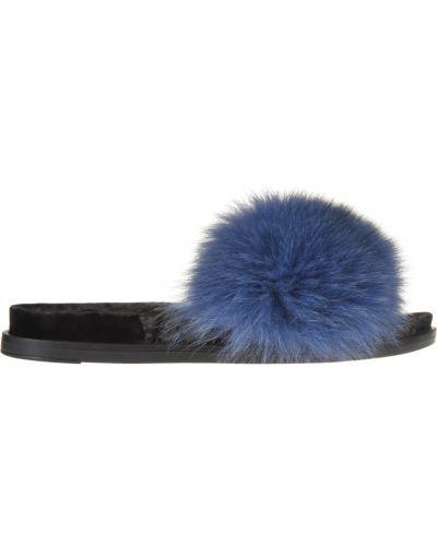 Кожаные шлепанцы - синие Jog Dog