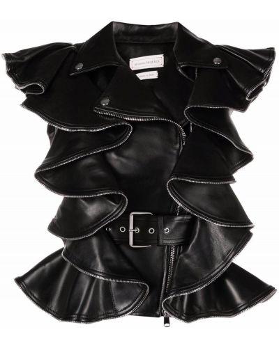 Шелковая черная кожаная куртка с оборками Alexander Mcqueen