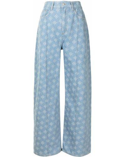 Niebieskie jeansy skorzane Rokh