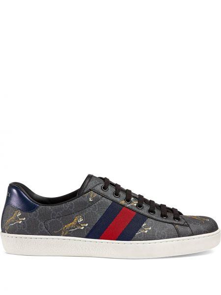 Brezentowy czarny skórzane sneakersy na pięcie z paskami Gucci