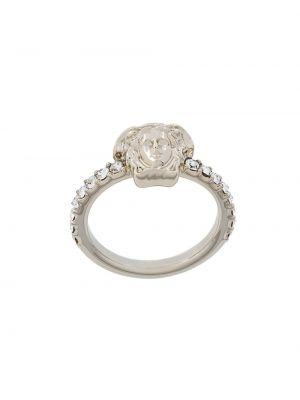 Szary złoty pierścionek Versace