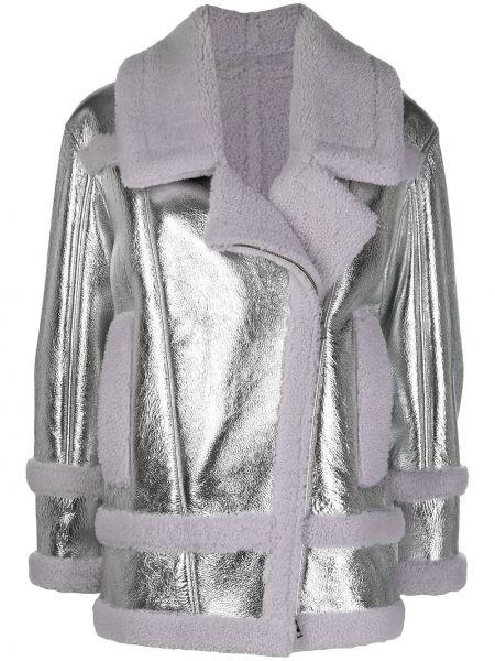 Серебряная кожаная куртка на молнии Blancha