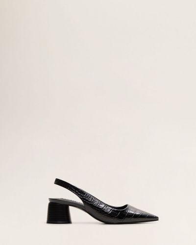 Туфли на каблуке кожаные черные Mango