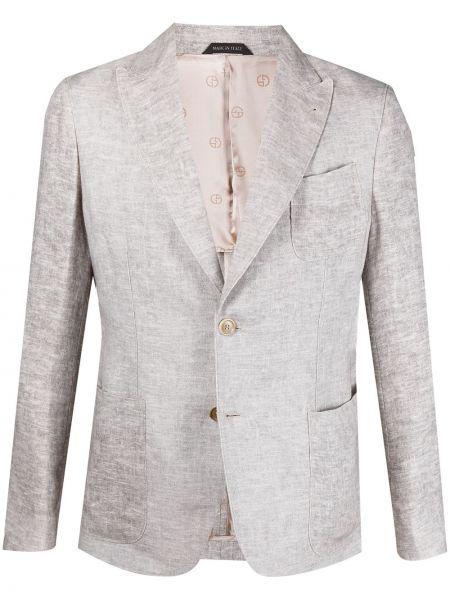 Льняной однобортный удлиненный пиджак с накладными карманами Giorgio Armani