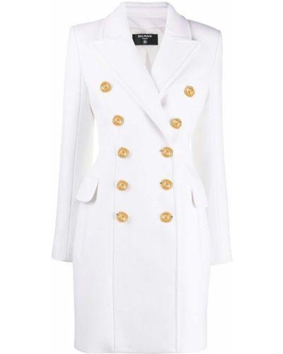 Белое кашемировое длинное пальто двубортное Balmain