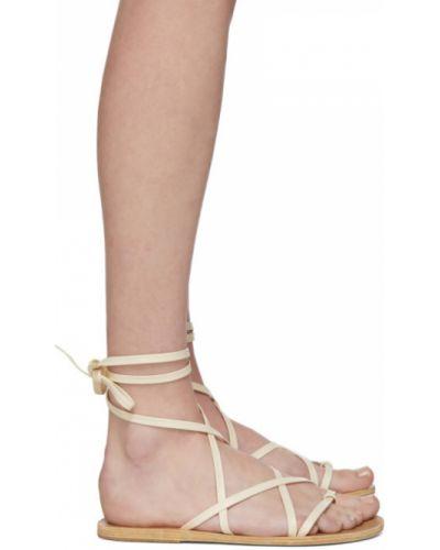 Skórzany biały sandały grecki na pięcie okrągły Ancient Greek Sandals