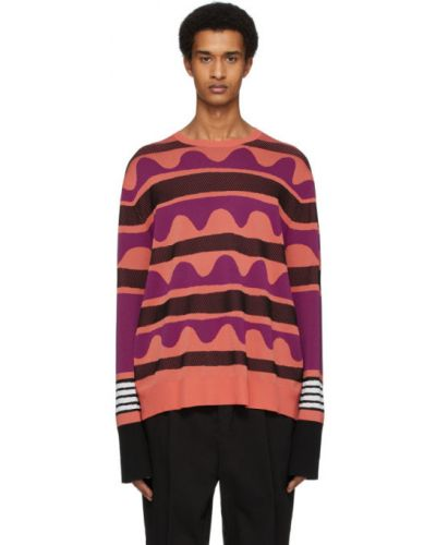 Черный длинный свитер в полоску с воротником Neil Barrett