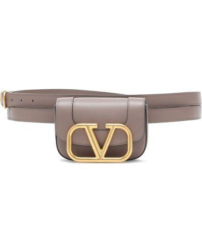 Кофейный кожаный ремень с поясом Valentino Garavani