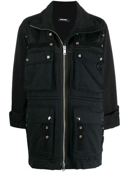 Черная куртка милитари с нашивками Diesel