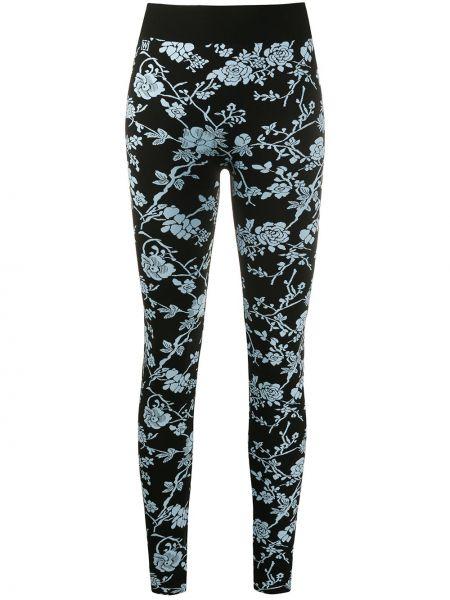 Czarne legginsy z wysokim stanem w kwiaty Wolford