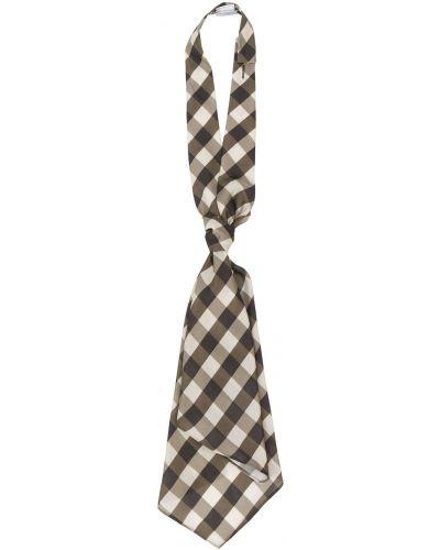 Коричневый шелковый галстук в клетку Brunello Cucinelli
