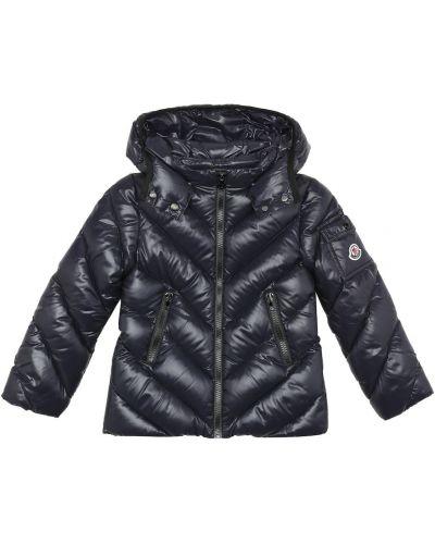 Стеганая пуховая синяя куртка Moncler Enfant