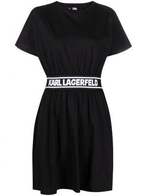 С рукавами черное платье мини с вырезом Karl Lagerfeld