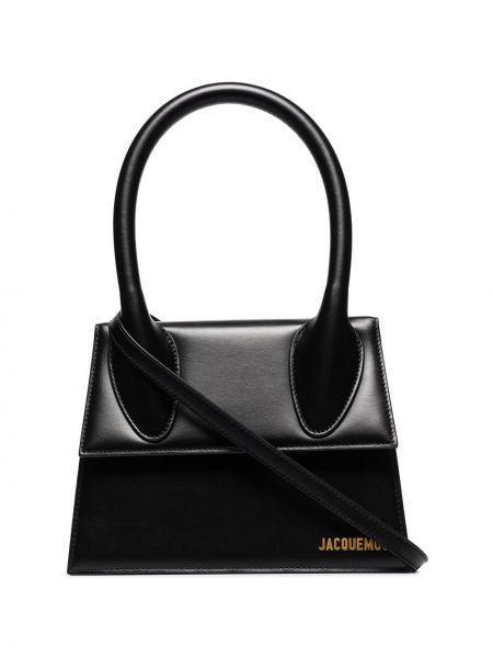 Кожаная черная сумка-тоут Jacquemus