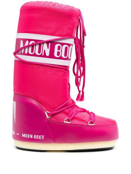 Розовые сапоги на шнуровке Moon Boot