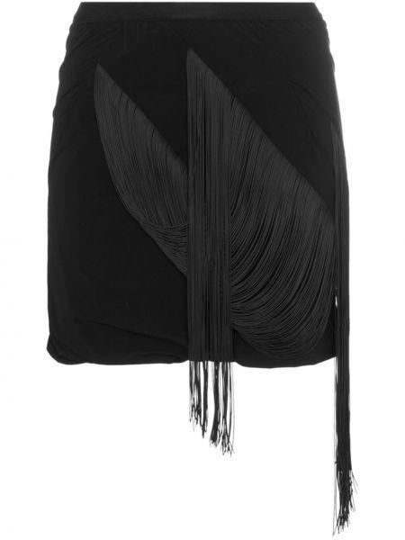 Czarna spódnica mini na co dzień kaskadowa Rick Owens