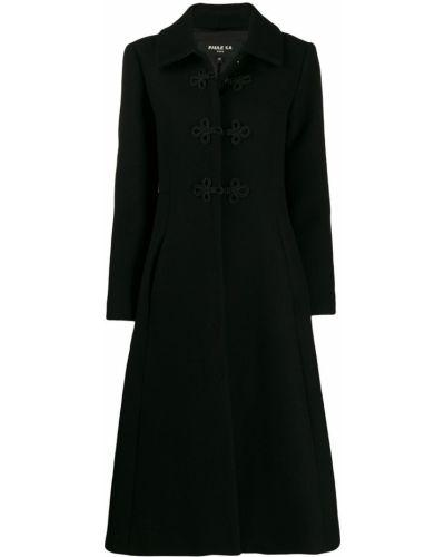 Приталенное шерстяное черное длинное пальто Paule Ka