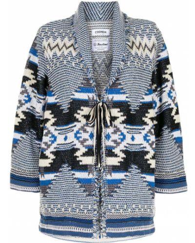 Длинное пальто с лацканами жаккардовое с завязками Coohem