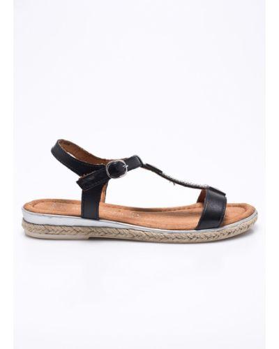 Черные сандалии кожаный Marco Tozzi
