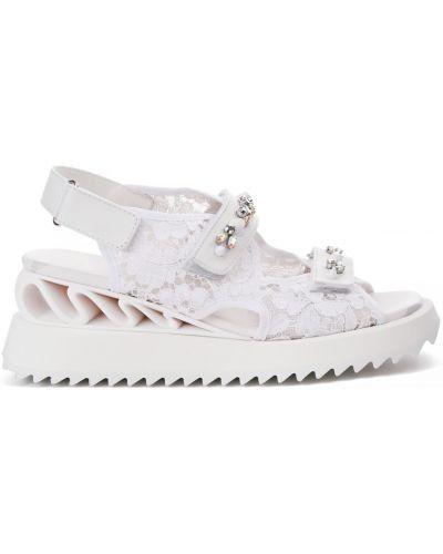 Белые открытые кожаные сандалии Le Silla