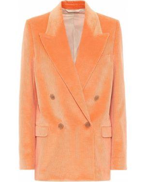 Оранжевый классический пиджак с подстежкой двубортный вельветовый Acne Studios