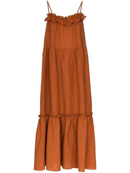 Льняное платье макси на бретелях с V-образным вырезом на молнии Araks