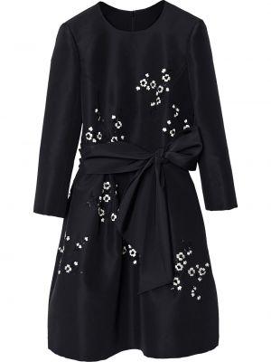 Jedwab z rękawami czarny sukienka z kieszeniami Carolina Herrera