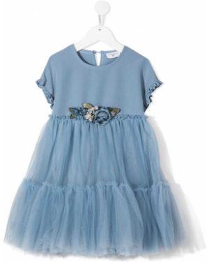 Синее платье с рукавами из фатина на пуговицах круглое Monnalisa