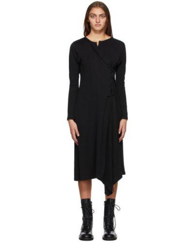 Черное платье макси на шнуровке с V-образным вырезом с воротником Yohji Yamamoto