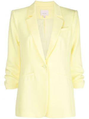 Прямой желтый приталенный классический пиджак Cinq À Sept