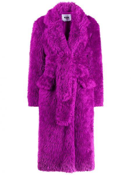 Фиолетовая длинная шуба из искусственного меха с поясом Msgm