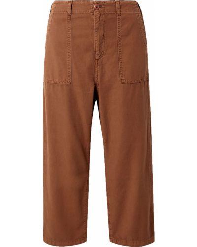 Прямые коричневые укороченные брюки с накладными карманами The Great.