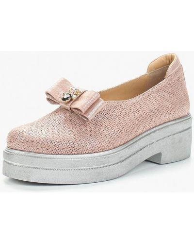 Кожаные туфли на каблуке розовый Grand Style