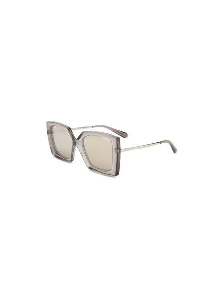 Комбинированные серые солнцезащитные очки квадратные металлические Chanel