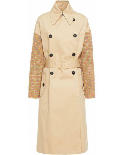Бежевое вязаное пальто двубортное M Missoni