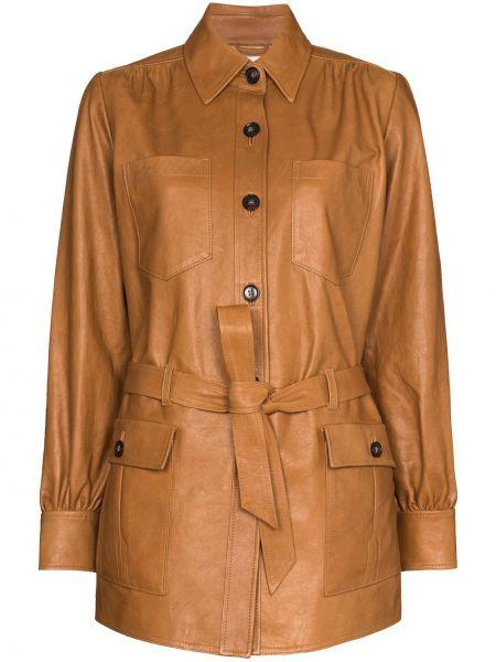 Коричневая кожаная куртка с воротником Frame