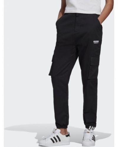 Черные брюки карго с высокой посадкой Adidas