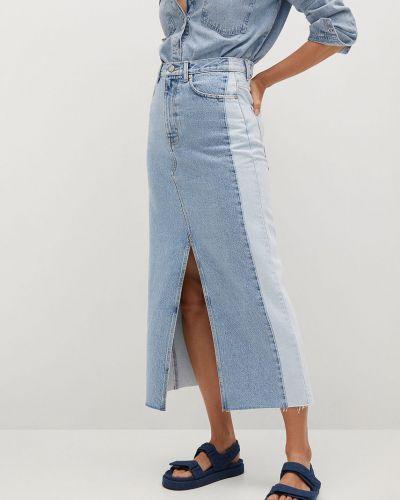 Niebieska spódnica maxi bawełniana na co dzień Mango