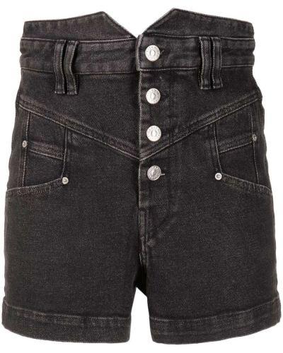 Czarne jeansy bawełniane z paskiem Isabel Marant