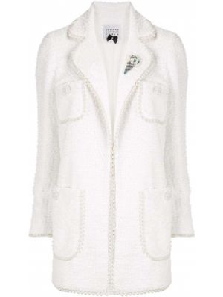 Белая куртка с жемчугом на пуговицах с карманами Edward Achour Paris