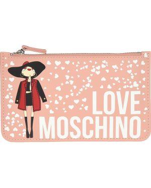 Кожаный клатч - розовый Love Moschino