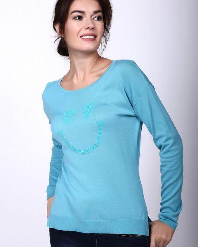 Голубой пуловер с рисунком Pezzo