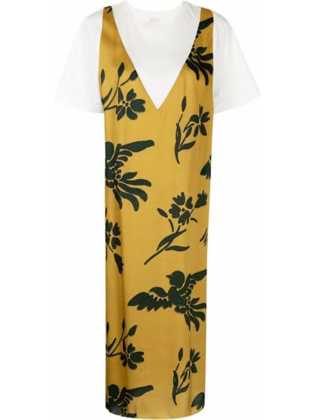 Хлопковое платье миди - желтое Paul Smith